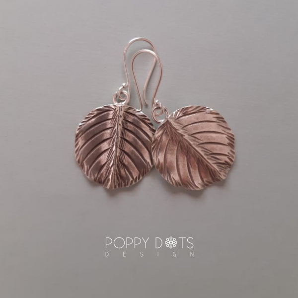Sterling Silver Circle Leaf Earrings