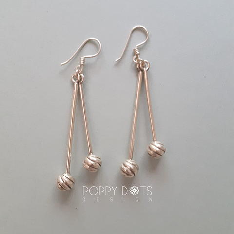 Sterling Silver Dangling Double Dots