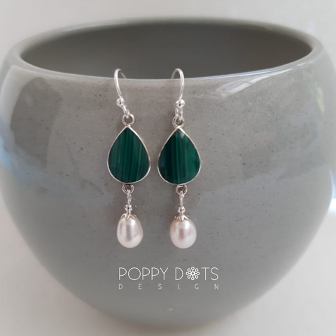 Sterling Silver Dangling Teardrops Green