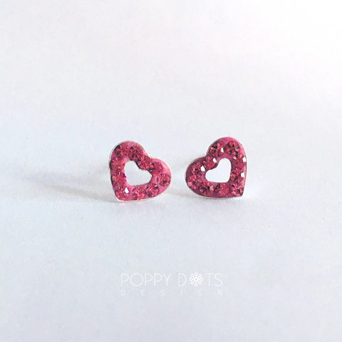 Sterling Silver Dazzling Pink Heart Studs