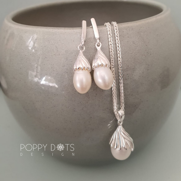 Delicate Sterling Silver & Pearl Drop Pendant