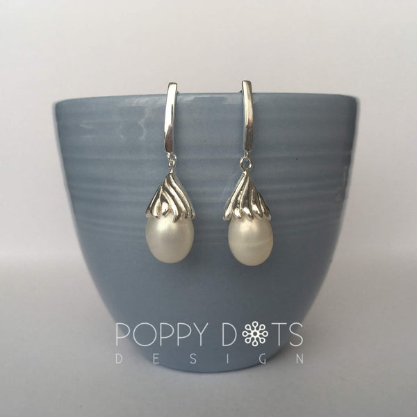 Delicate Sterling Silver & Pearl Drop Studs