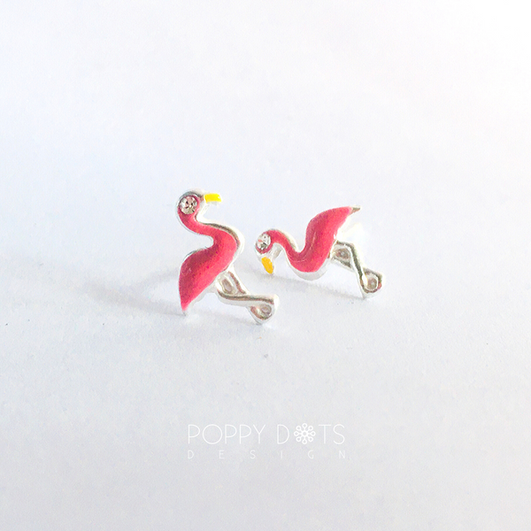 Sterling Silver Pink Flamingo Studs