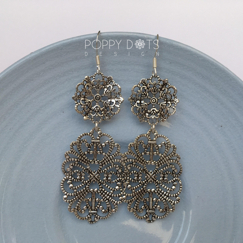 Oxidised Sterling Silver Frida Earrings