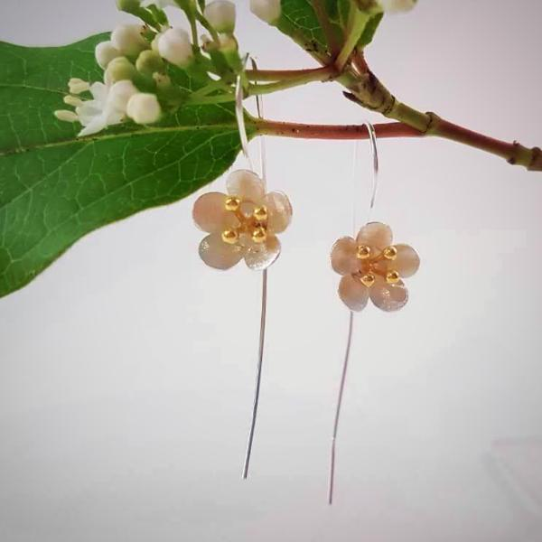 Sterling Silver & Gold Cherry Blossom Earrings