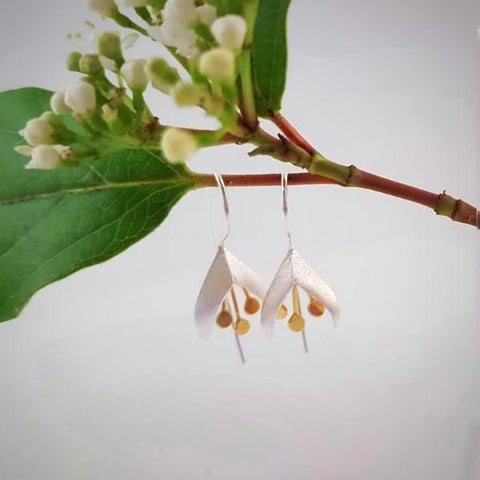 Sterling Silver & Gold Fuchsia Earrings