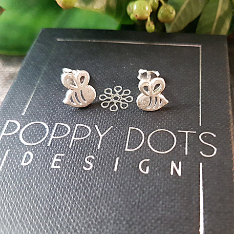 Sterling Silver Bumblebee Studs