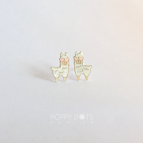 Sterling Silver Lamas in Love Studs