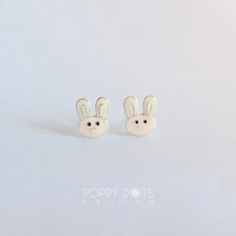 Sterling Silver Light Pink Bunny Studs