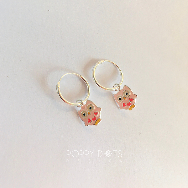 Sterling Silver Pink Owl Hoop Earrings