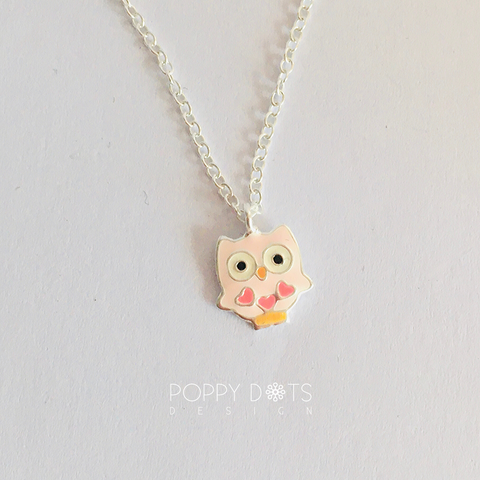 Sterling Silver Light Pink Owl Necklace