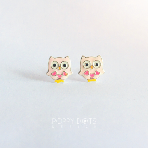Sterling Silver Light Pink Owl Studs