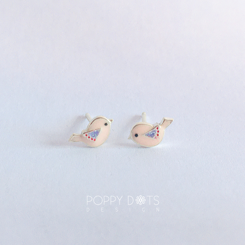 Sterling Silver Little Birdie Studs