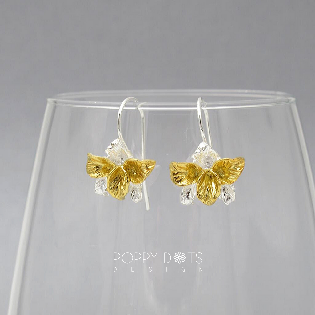 Sterling Silver & Gold Orchids