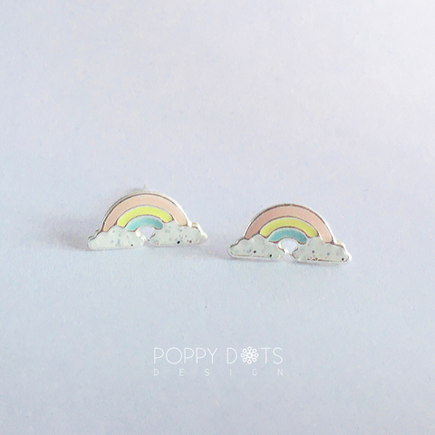 Sterling Silver Pastel Rainbow Studs