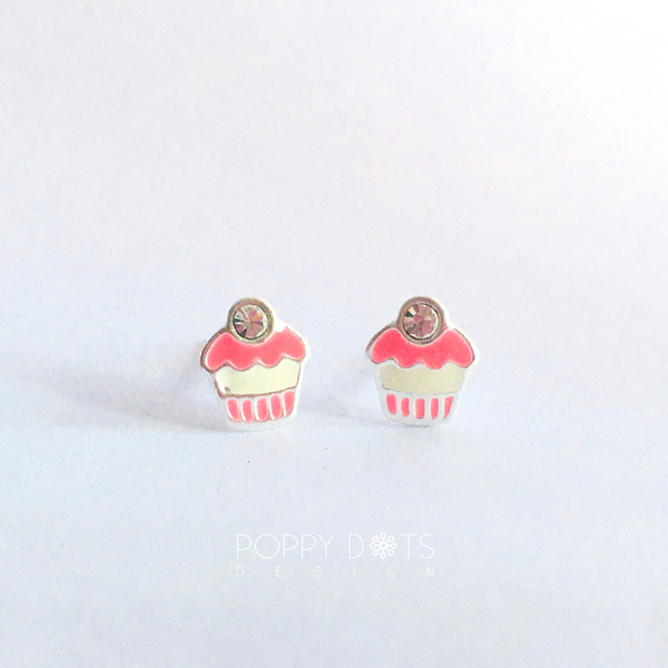 Sterling Silver Pink Cup Cake Studs