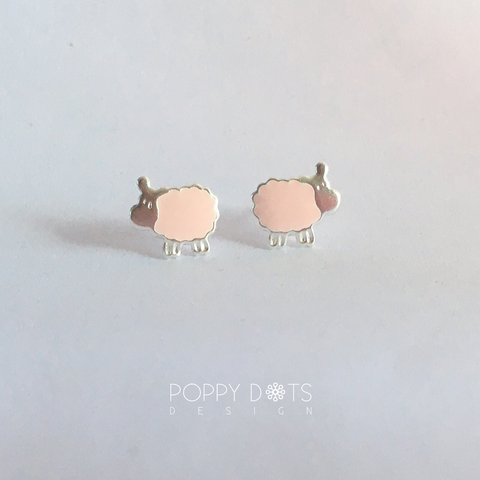 Sterling Silver Pink Sheep Studs