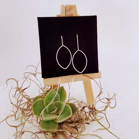 Sterling Silver Marquis Threaded Dangling Earrings