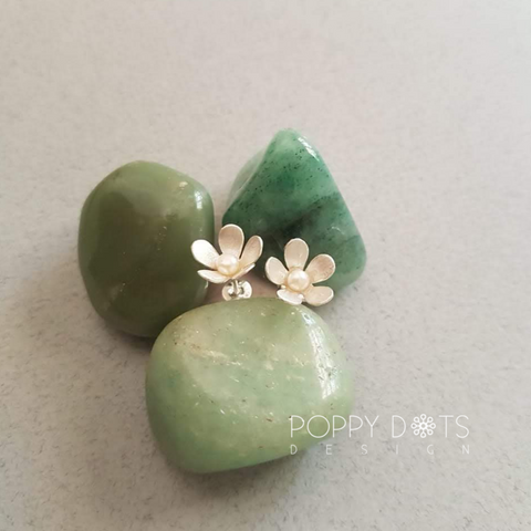 Sterling Silver Pearl Blossom Studs