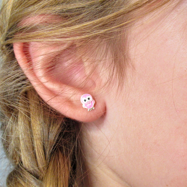 Sterling Silver Bright Pink Owl Studs