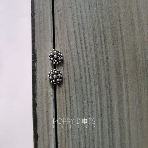 Sterling Silver Oxidised Bubble Studs