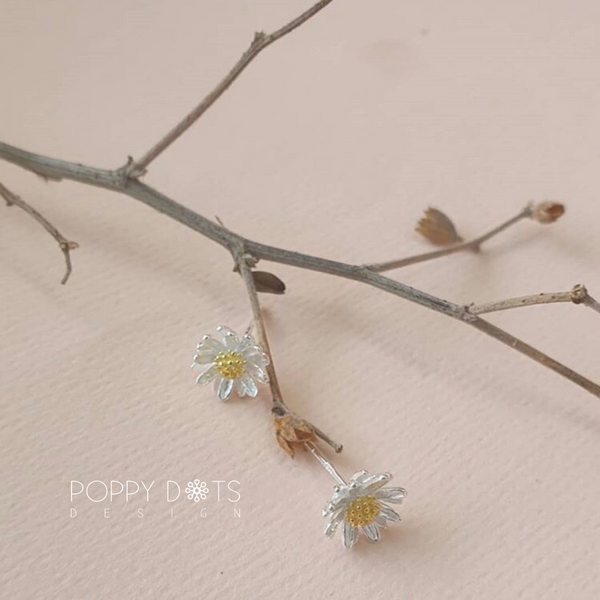 Sterling Silver & Gold Daisy Studs