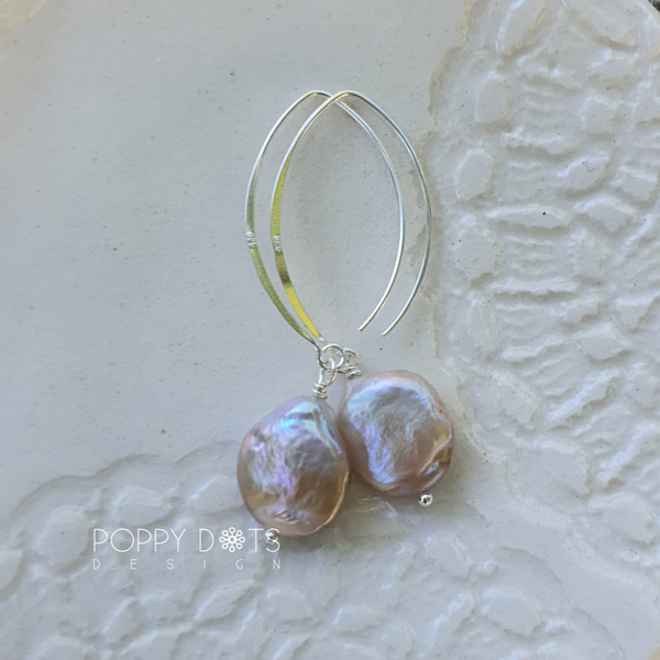 Sterling Silver & Freshwater Pink Coin Pearl Earrings