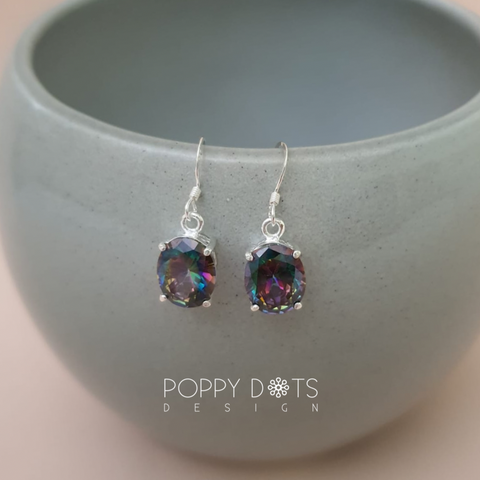 Sterling Silver & Oval Mystic Topaz Earrings