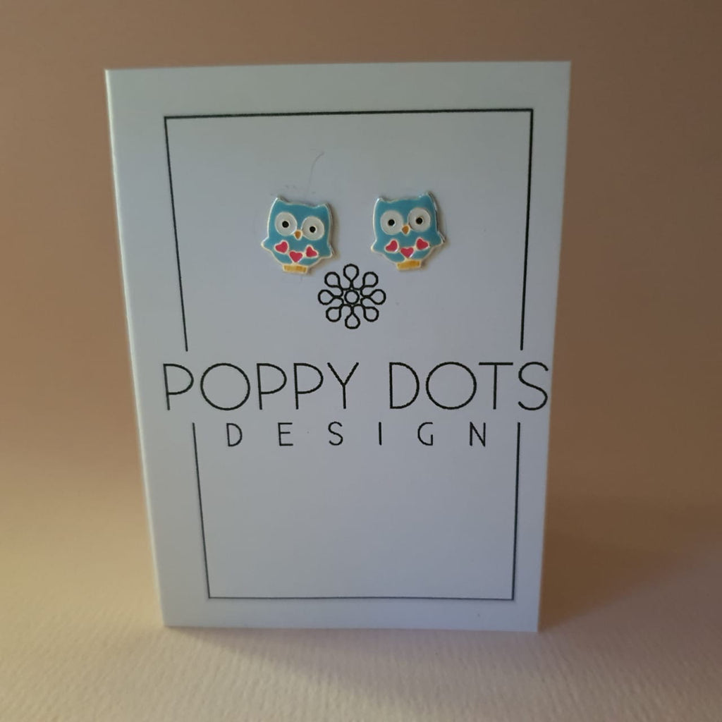 Sterling Silver Light Blue Owl Studs