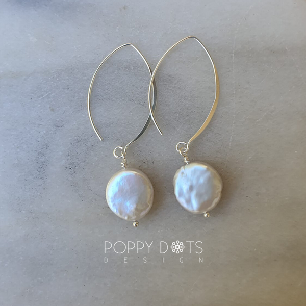Sterling Silver & Freshwater Coin Pearl Earrings