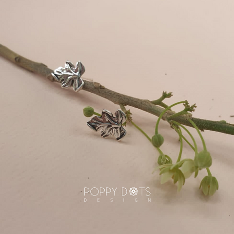 Sterling Silver Delicious Leaf Studs