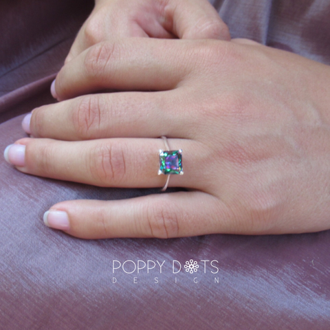 Sterling Silver & Square Mystic Topaz Ring
