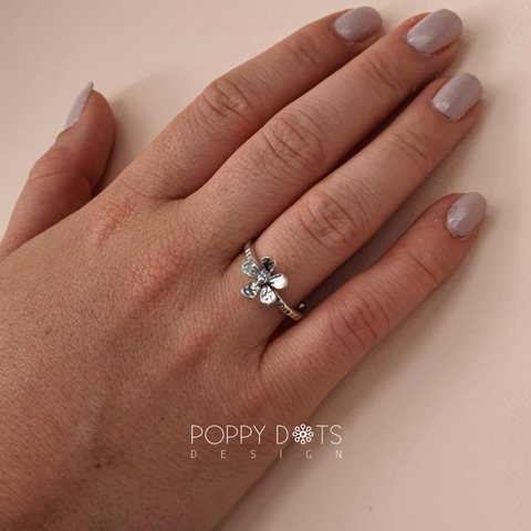 Sterling Silver Hammered Floral Ring