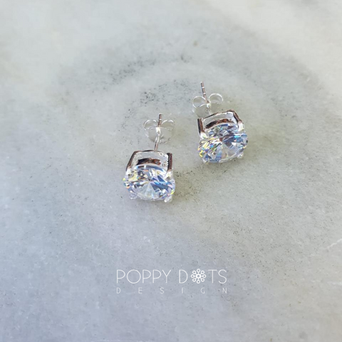 Sterling Silver & Cubic Zirconia Round Studs