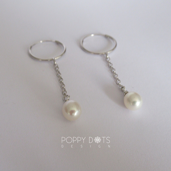 Sterling Silver Hoops with dangling Pearl