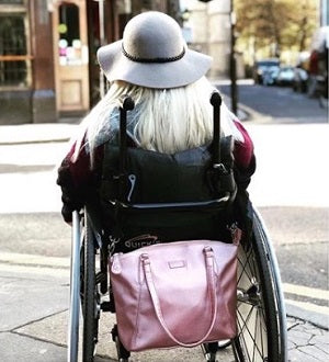 Sam Renke accessible handbag, available in a range of colours, and suitable for anyone with mobility problems, dexterity issues and/or sight loss.