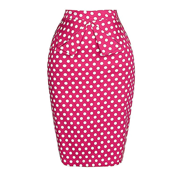 Pretty in Pink Polka Dot Midi Pencil Skirt