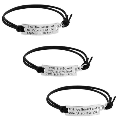 Silver Inspirational Affirmation Bracelet (15 messages)