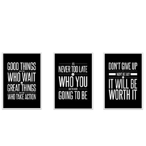 Never Give Up! Inspirational Quotes (set of 3) - 13 X 19