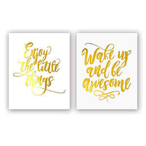 Daily Reminder Gold Foiled Inspirational Quotes -(SET OF 2) - 8 X 10