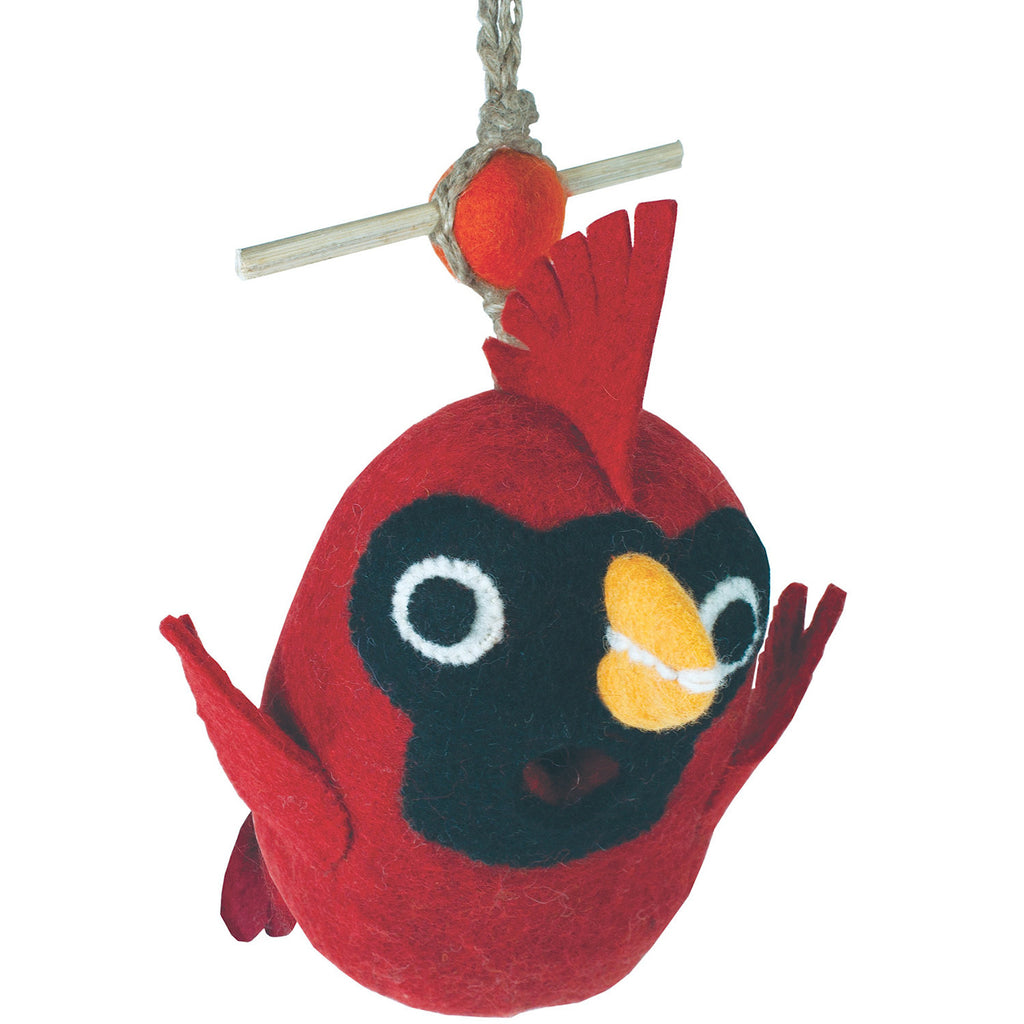 Felt Birdhouse - Baby Cardinal Handmade and Fair Trade