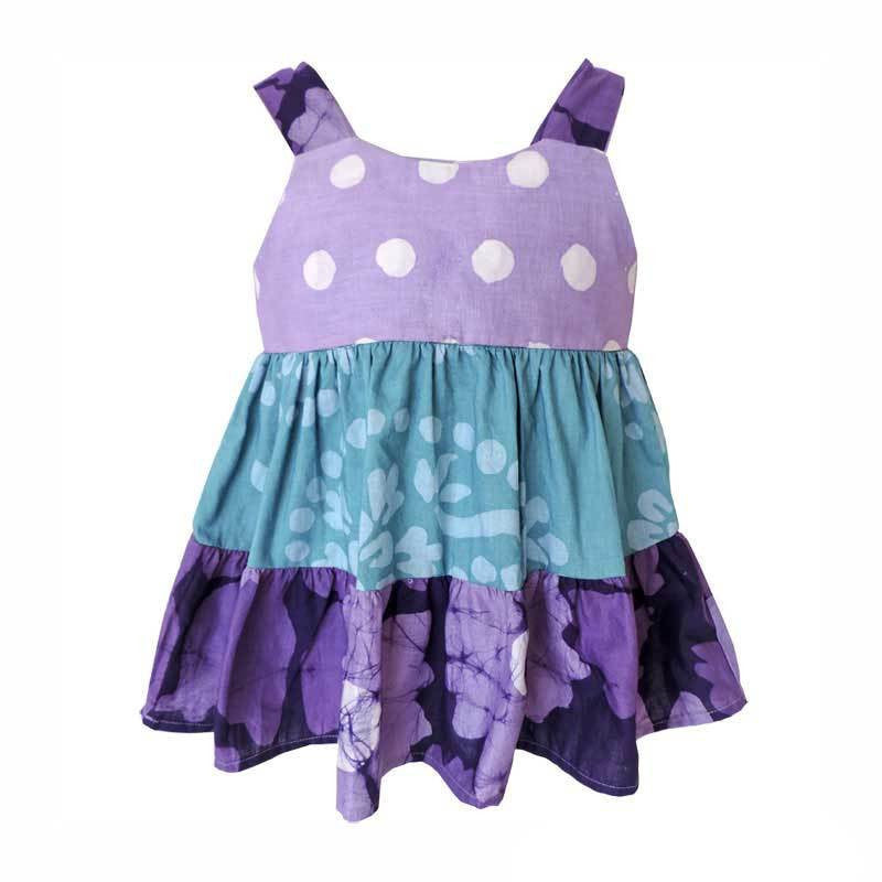 Baby Gypsy Dress Violet Patchwork - Global Mamas (B)