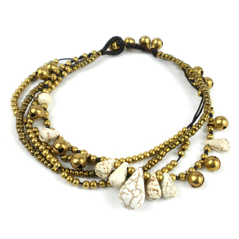 Bohemian Tear Drop Anklet White - Global Groove (J)