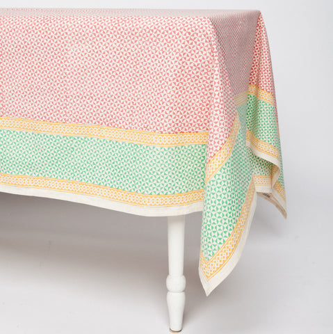 Orange Geometric Cotton Tablecloth 90 by 60 - Sustainable Threads (L)