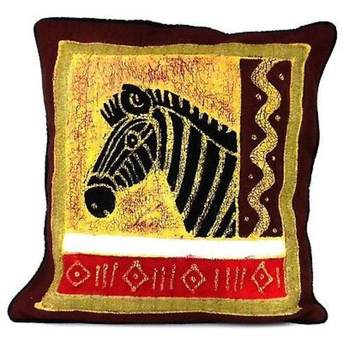 Handmade Colorful Zebra Batik Cushion Cover Handmade and Fair Trade