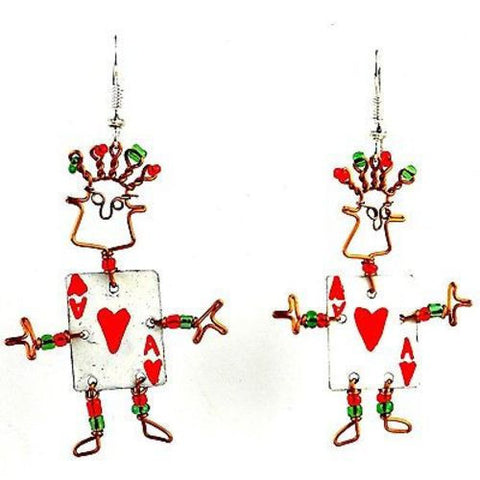 Dancing Girl Card Player Earrings Handmade and Fair Trade