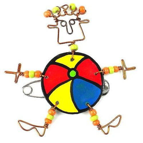 Dancing Girl Beach Ball Pin Handmade and Fair Trade