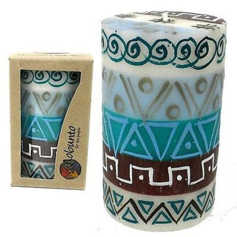 Single Boxed Hand-Painted Pillar Candle - Maji Design Handmade and Fair Trade