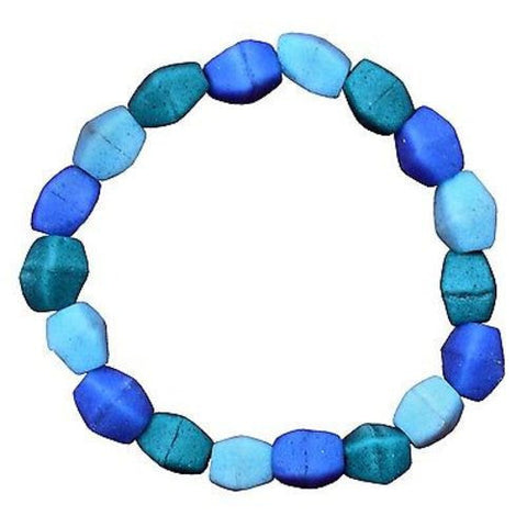 Ocean Blue Glass Pebbles Bracelet Handmade and Fair Trade
