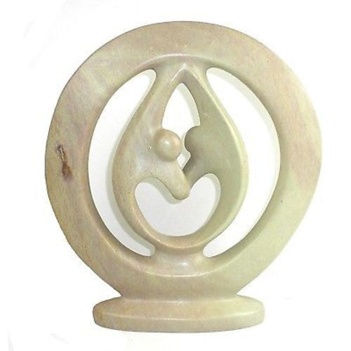 Natural Soapstone 10-inch Lover's Embrace Sculpture Handmade and Fair Trade
